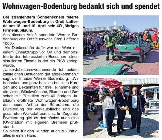 Zeitungsartikel von Wohnwagen Bodenburg - dankepeiner