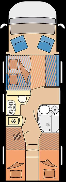 Eine Draufsicht für das HOBBY - Optima de Luxe T75 HGE Wohnmobil. Dort sieht man, wie das Fahrzeug von Innen aufgebaut ist.