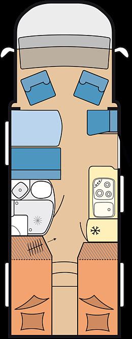 Eine Draufsicht für das HOBBY - HOBBY - Optima de Luxe T65 GE Wohnmobil. Dort sieht man, wie das Fahrzeug von Innen aufgebaut ist.