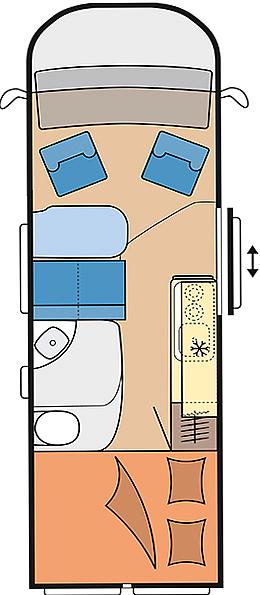 Eine Draufsicht für das HOBBY - Vantana K60Fs Wohnmobil. Dort sieht man, wie das Fahrzeug von Innen aufgebaut ist.